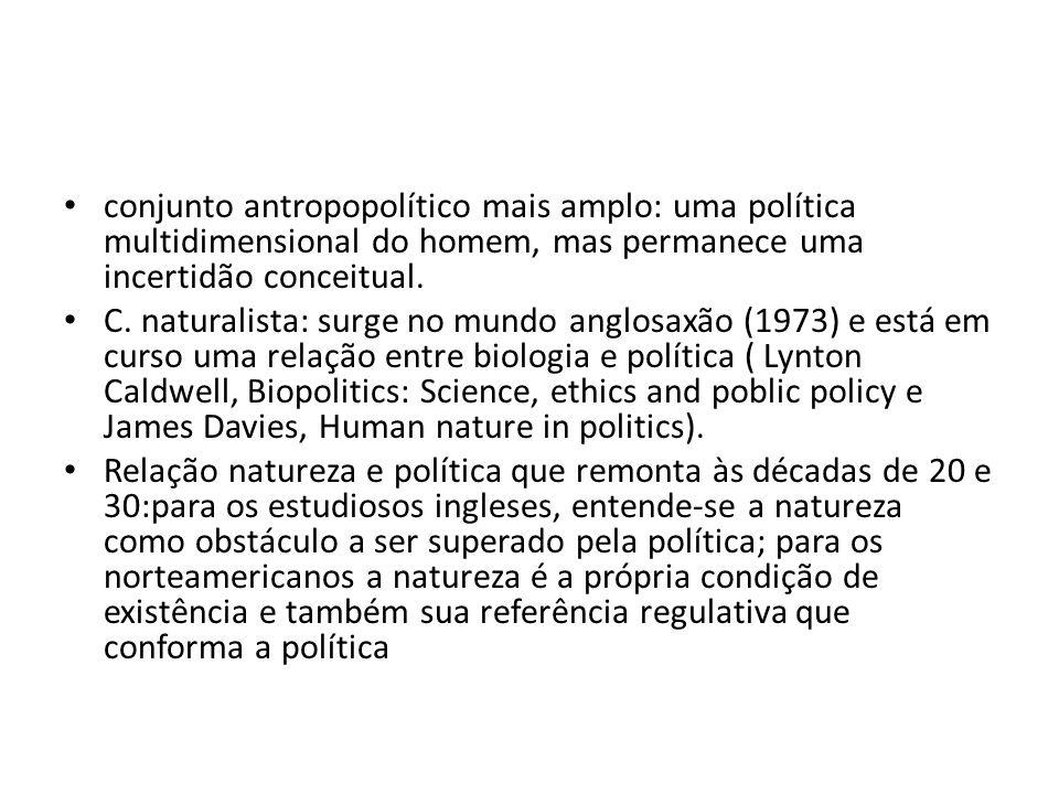conjunto antropopolítico mais amplo: uma política multidimensional do homem, mas permanece uma incertidão conceitual.