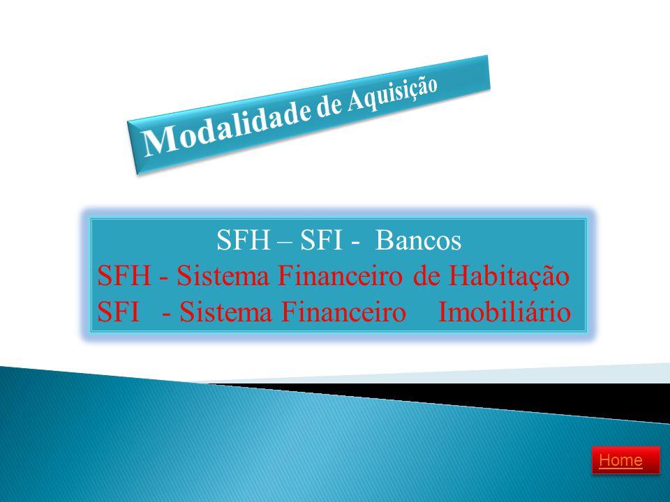 SFH – SFI - Bancos SFH - Sistema Financeiro de Habitação SFI - Sistema Financeiro Imobiliário Home