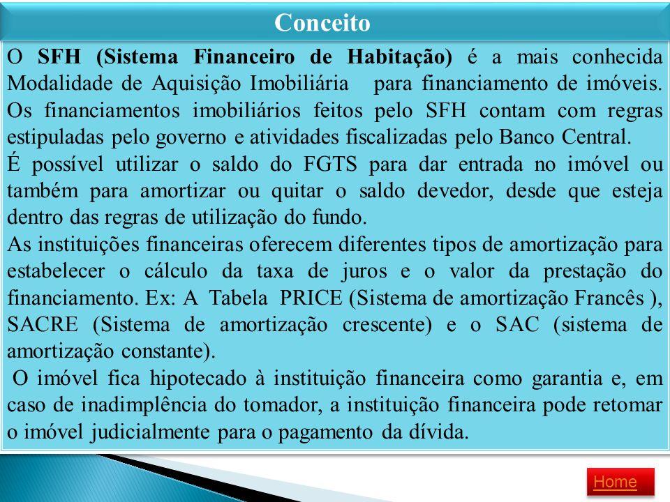 O SFH (Sistema Financeiro de Habitação) é a mais conhecida Modalidade de Aquisição Imobiliária para financiamento de imóveis. Os financiamentos imobil