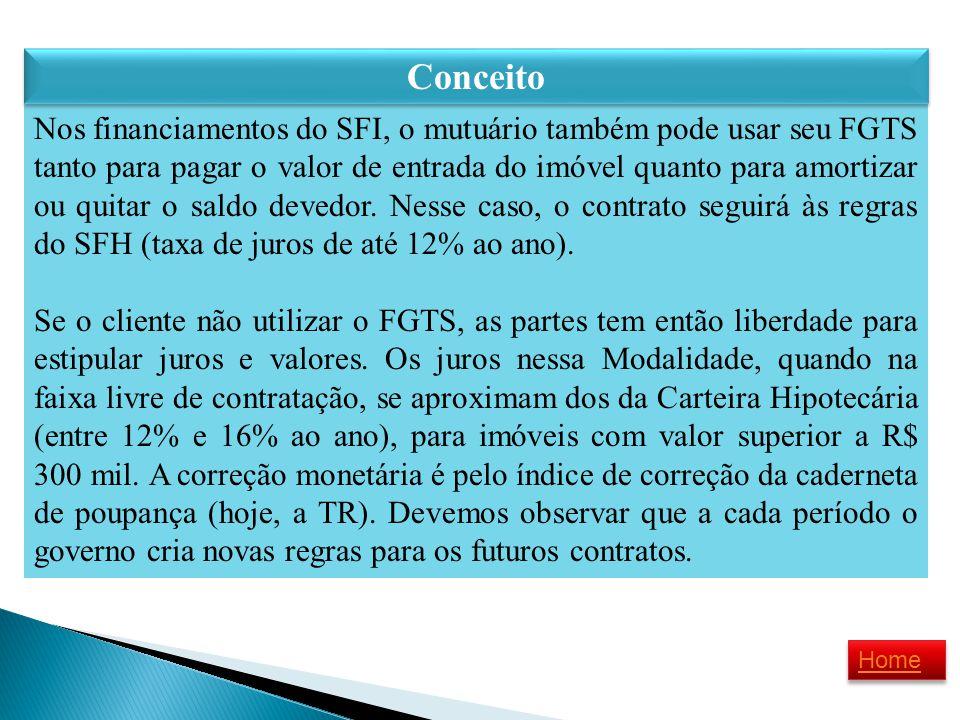 Nos financiamentos do SFI, o mutuário também pode usar seu FGTS tanto para pagar o valor de entrada do imóvel quanto para amortizar ou quitar o saldo