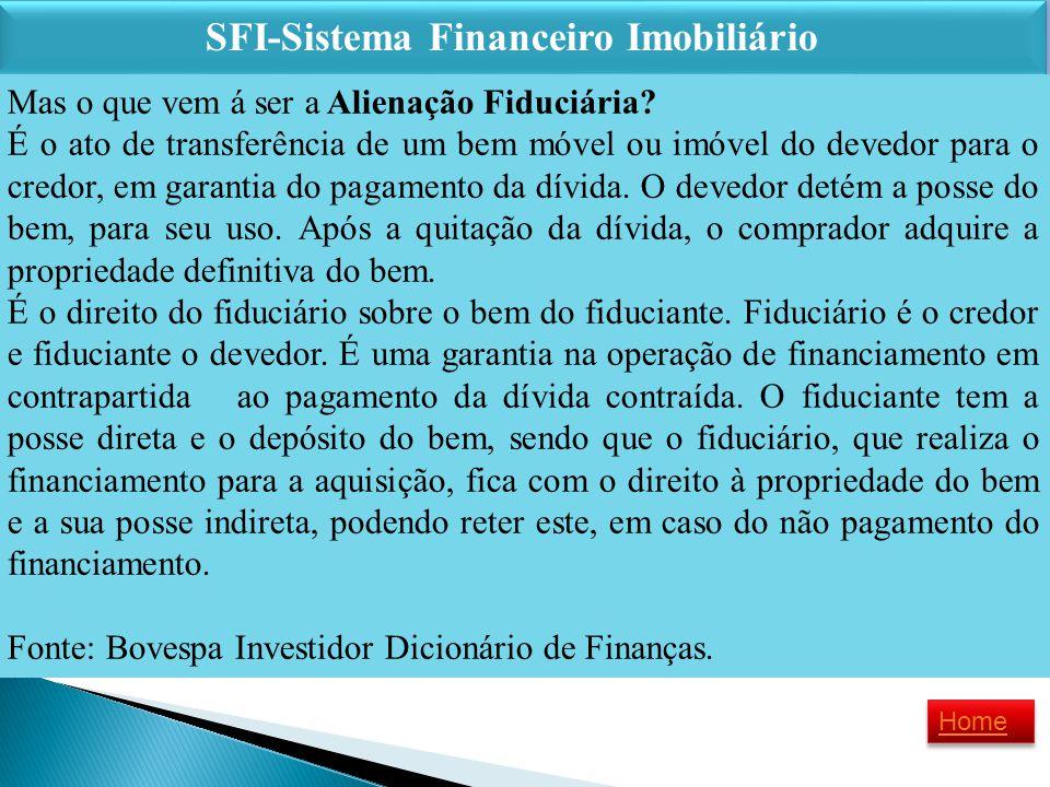 SFI-Sistema Financeiro Imobiliário SFI-Sistema Financeiro Imobiliário Mas o que vem á ser a Alienação Fiduciária? É o ato de transferência de um bem m