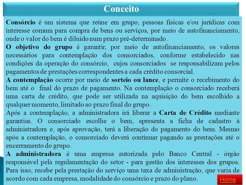 Conceito Consórcio é um sistema que reúne em grupo, pessoas físicas e/ou jurídicas com interesse comum para compra de bens ou serviços, por meio de au