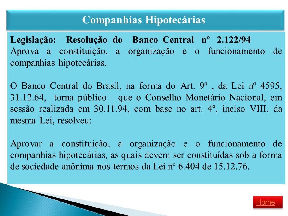 Companhias Hipotecárias Legislação: Resolução do Banco Central nº 2.122/94 Aprova a constituição, a organização e o funcionamento de companhias hipote