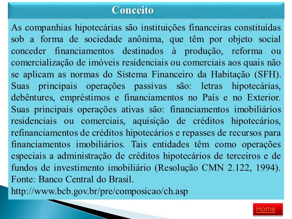 Conceito Conceito As companhias hipotecárias são instituições financeiras constituídas sob a forma de sociedade anônima, que têm por objeto social con