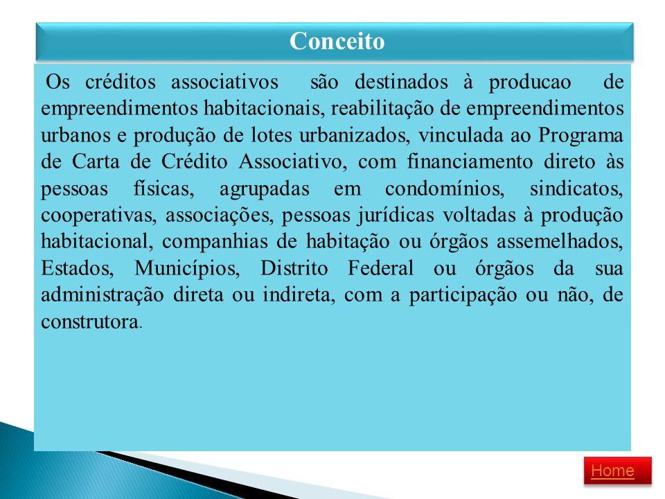 Conceito Os créditos associativos são destinados à producao de empreendimentos habitacionais, reabilitação de empreendimentos urbanos e produção de lo
