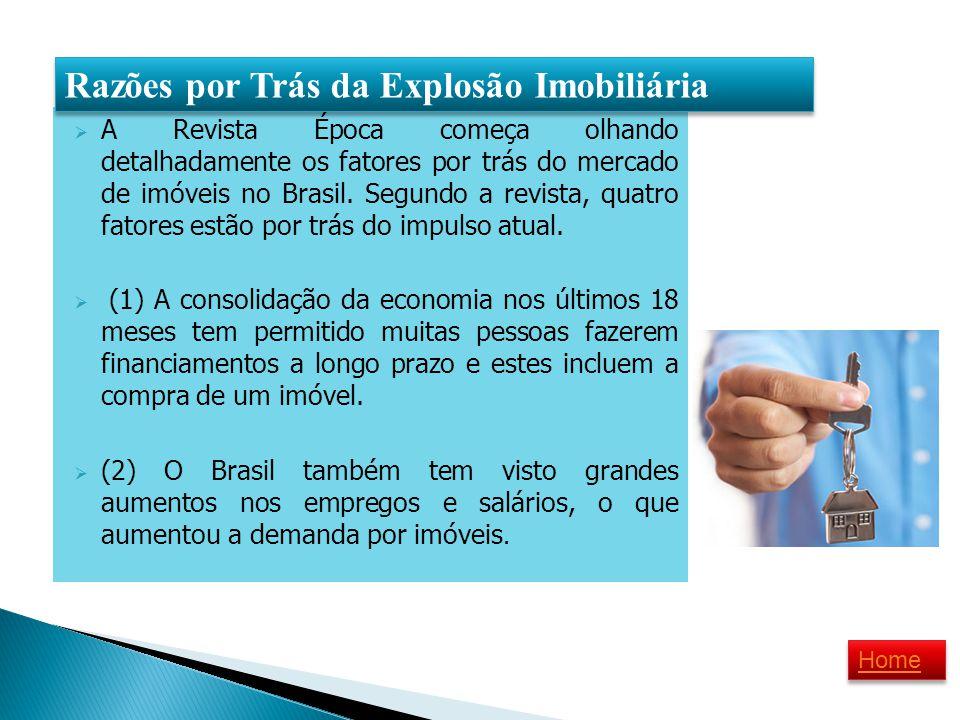 A Revista Época começa olhando detalhadamente os fatores por trás do mercado de imóveis no Brasil. Segundo a revista, quatro fatores estão por trás do
