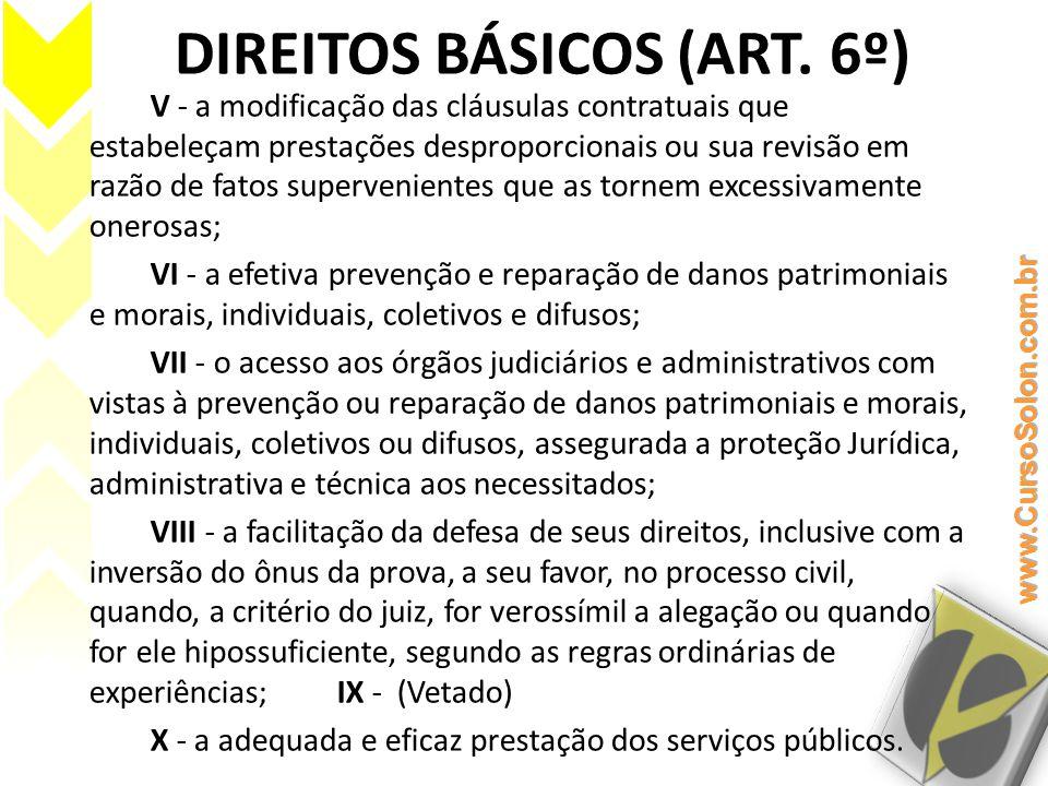 DIREITOS BÁSICOS (ART. 6º) V - a modificação das cláusulas contratuais que estabeleçam prestações desproporcionais ou sua revisão em razão de fatos su