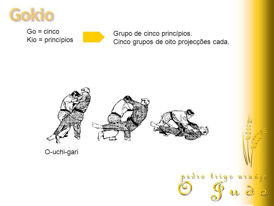 Go = cinco Kio = princípios Grupo de cinco princípios. Cinco grupos de oito projecções cada. O-uchi-gari