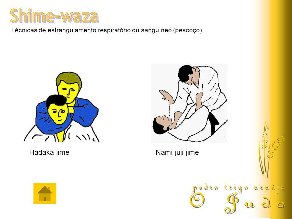 Técnicas de estrangulamento respiratório ou sanguíneo (pescoço). Hadaka-jimeNami-juji-jime