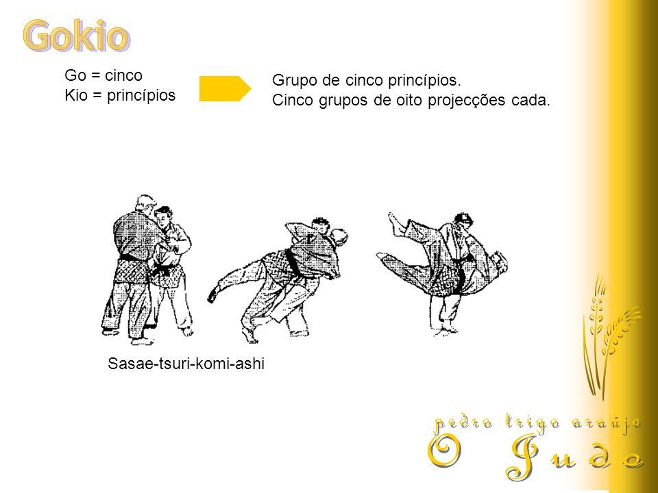 Go = cinco Kio = princípios Grupo de cinco princípios. Cinco grupos de oito projecções cada. Sasae-tsuri-komi-ashi