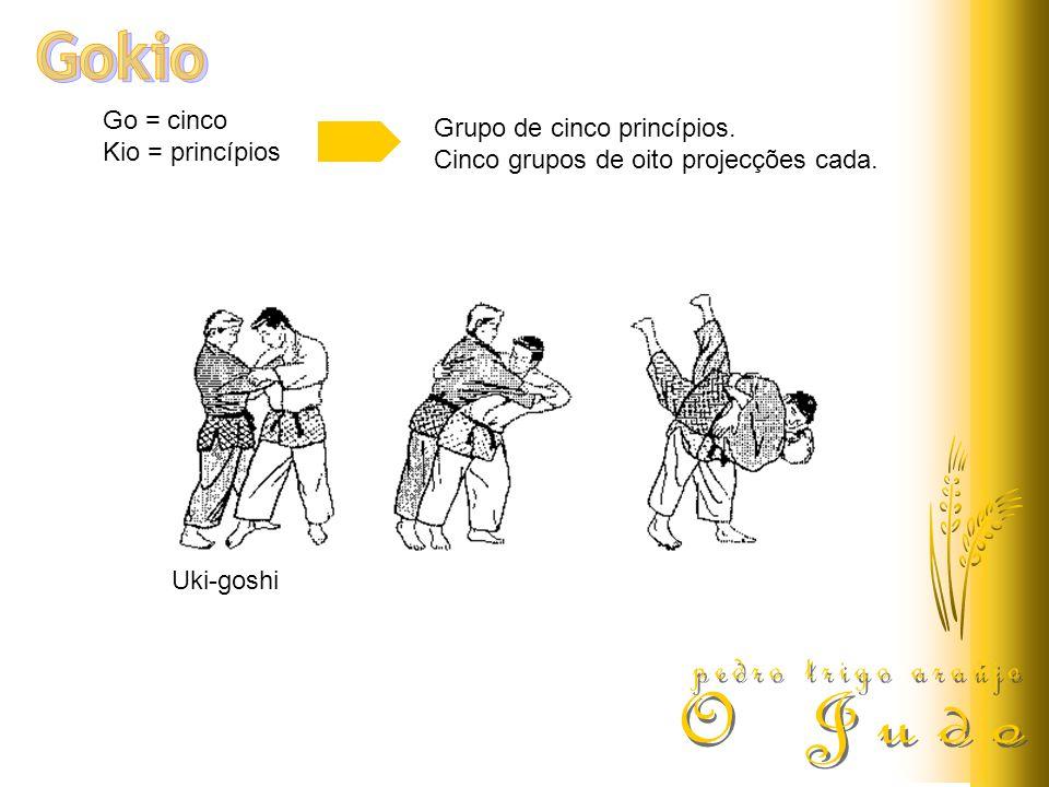 Go = cinco Kio = princípios Grupo de cinco princípios. Cinco grupos de oito projecções cada. Uki-goshi