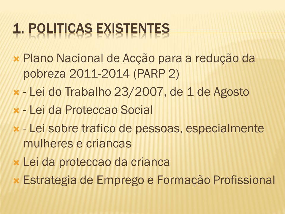 Plano Nacional de Acção para a redução da pobreza 2011-2014 (PARP 2) - Lei do Trabalho 23/2007, de 1 de Agosto - Lei da Proteccao Social - Lei sobre t