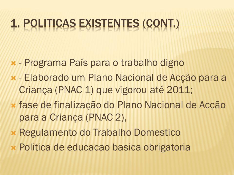 - Programa País para o trabalho digno - Elaborado um Plano Nacional de Acção para a Criança (PNAC 1) que vigorou até 2011; fase de finalização do Plan