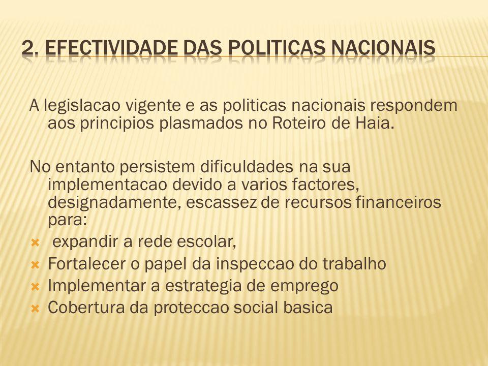 A legislacao vigente e as politicas nacionais respondem aos principios plasmados no Roteiro de Haia. No entanto persistem dificuldades na sua implemen