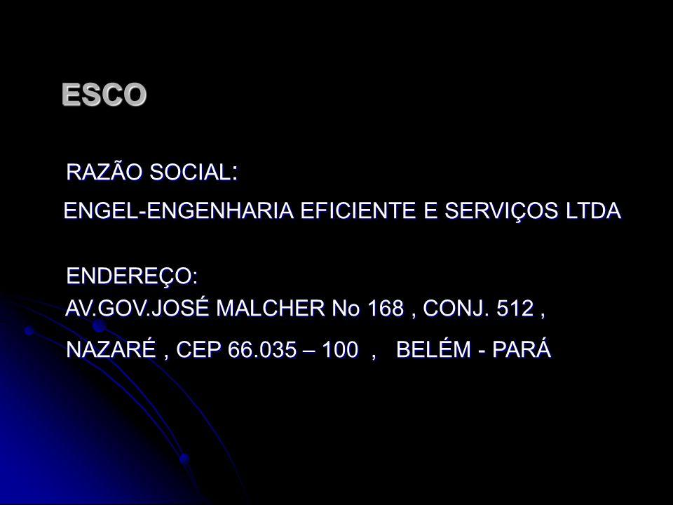 ESCO ESCO RAZÃO SOCIAL: ENGEL-ENGENHARIA EFICIENTE E SERVIÇOS LTDA ENDEREÇO: AV.GOV.JOSÉ MALCHER No 168, CONJ.