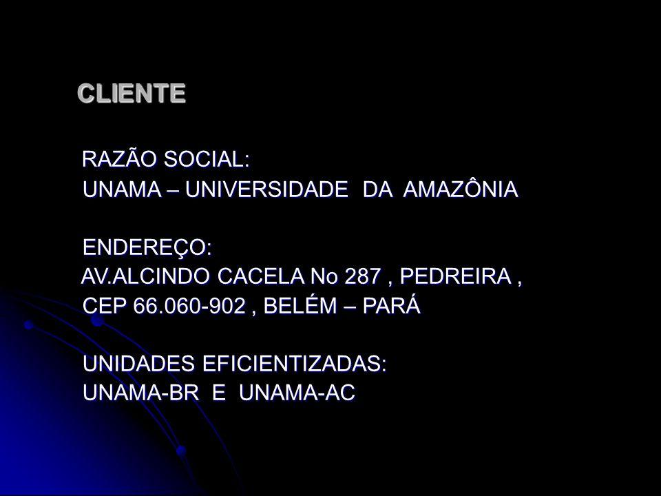 CLIENTE CLIENTE RAZÃO SOCIAL: UNAMA – UNIVERSIDADE DA AMAZÔNIA ENDEREÇO: AV.ALCINDO CACELA No 287, PEDREIRA, CEP 66.060-902, BELÉM – PARÁ UNIDADES EFICIENTIZADAS: UNAMA-BR E UNAMA-AC
