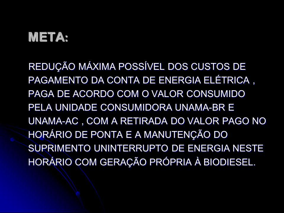 META : META : REDUÇÃO MÁXIMA POSSÍVEL DOS CUSTOS DE PAGAMENTO DA CONTA DE ENERGIA ELÉTRICA, PAGA DE ACORDO COM O VALOR CONSUMIDO PELA UNIDADE CONSUMIDORA UNAMA-BR E UNAMA-AC, COM A RETIRADA DO VALOR PAGO NO HORÁRIO DE PONTA E A MANUTENÇÃO DO SUPRIMENTO UNINTERRUPTO DE ENERGIA NESTE HORÁRIO COM GERAÇÃO PRÓPRIA À BIODIESEL.