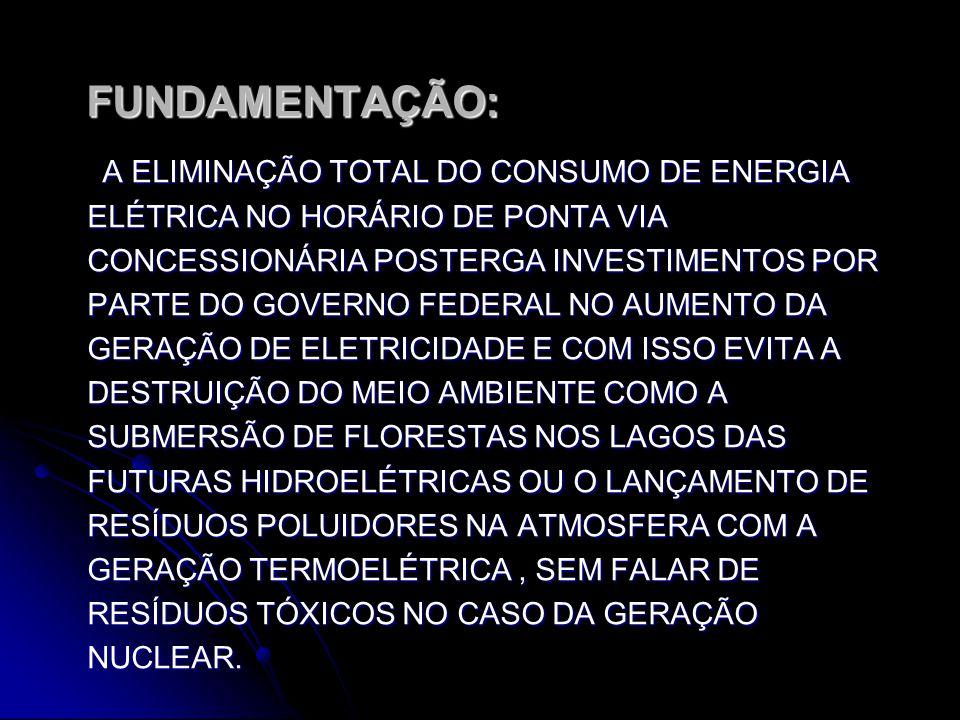 ENTOENTOENTOENTO FUNDAMENTAÇÃO: FUNDAMENTAÇÃO: A ELIMINAÇÃO TOTAL DO CONSUMO DE ENERGIA ELÉTRICA NO HORÁRIO DE PONTA VIA CONCESSIONÁRIA POSTERGA INVESTIMENTOS POR PARTE DO GOVERNO FEDERAL NO AUMENTO DA GERAÇÃO DE ELETRICIDADE E COM ISSO EVITA A DESTRUIÇÃO DO MEIO AMBIENTE COMO A SUBMERSÃO DE FLORESTAS NOS LAGOS DAS FUTURAS HIDROELÉTRICAS OU O LANÇAMENTO DE RESÍDUOS POLUIDORES NA ATMOSFERA COM A GERAÇÃO TERMOELÉTRICA, SEM FALAR DE RESÍDUOS TÓXICOS NO CASO DA GERAÇÃO NUCLEAR.