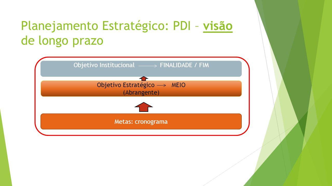 Planejamento Estratégico: PDI – visão de longo prazo Objetivo Institucional FINALIDADE / FIM Objetivo EstratégicoMEIO (Abrangente) Metas: cronograma