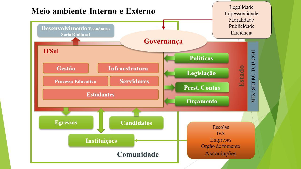 Meio ambiente Interno e Externo Candidatos Egressos Comunidade Servidores Infraestrutura Estudantes IFSul Processo Educativo Estado Políticas Legislaç