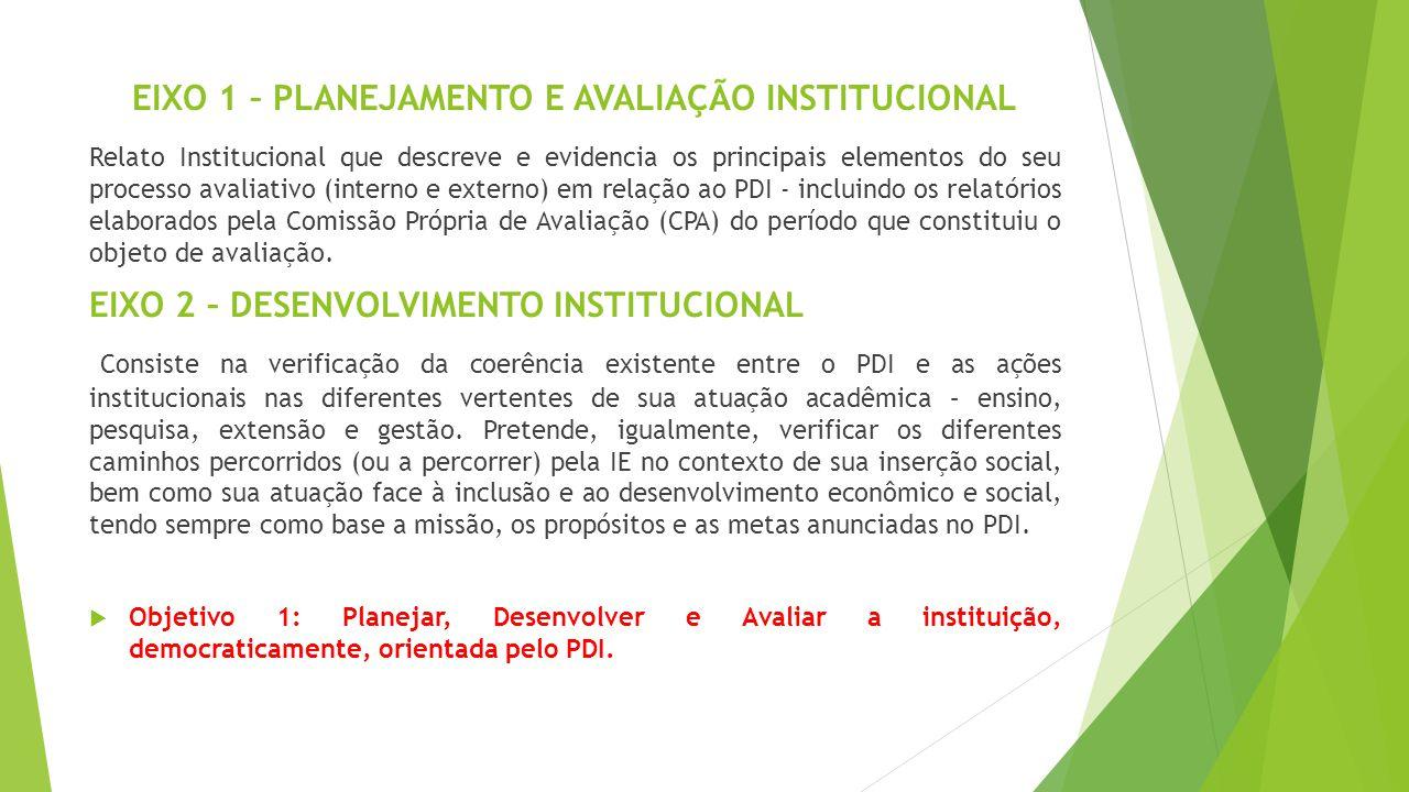 EIXO 1 – PLANEJAMENTO E AVALIAÇÃO INSTITUCIONAL Relato Institucional que descreve e evidencia os principais elementos do seu processo avaliativo (inte