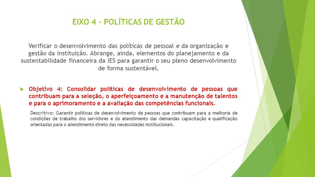 EIXO 4 – POLÍTICAS DE GESTÃO Verificar o desenvolvimento das políticas de pessoal e da organização e gestão da instituição. Abrange, ainda, elementos