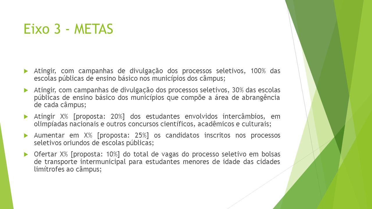 Eixo 3 - METAS Atingir, com campanhas de divulgação dos processos seletivos, 100% das escolas públicas de ensino básico nos municípios dos câmpus; Ati