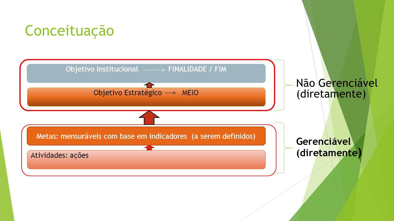 Conceituação Objetivo Institucional FINALIDADE / FIM Objetivo EstratégicoMEIO Não Gerenciável (diretamente) Metas: mensuráveis com base em indicadores