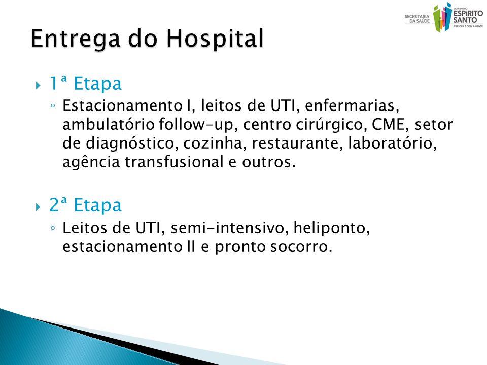 1ª Etapa Estacionamento I, leitos de UTI, enfermarias, ambulatório follow-up, centro cirúrgico, CME, setor de diagnóstico, cozinha, restaurante, laboratório, agência transfusional e outros.