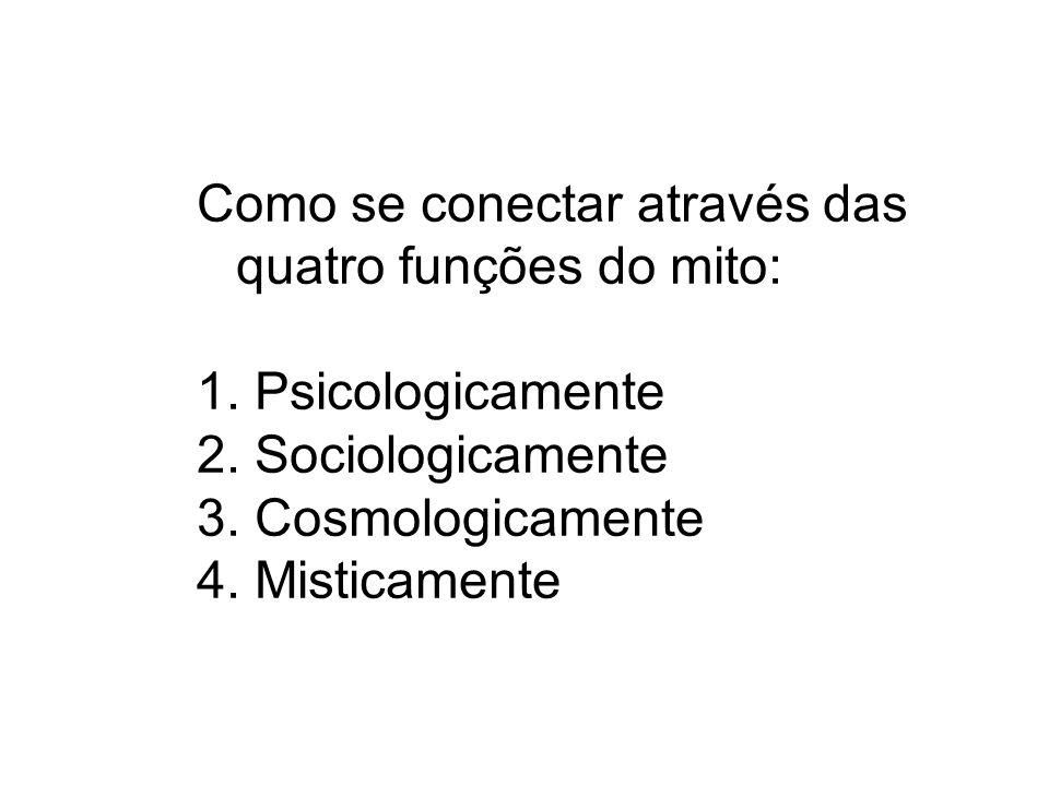 Como se conectar através das quatro funções do mito: 1. Psicologicamente 2. Sociologicamente 3. Cosmologicamente 4. Misticamente