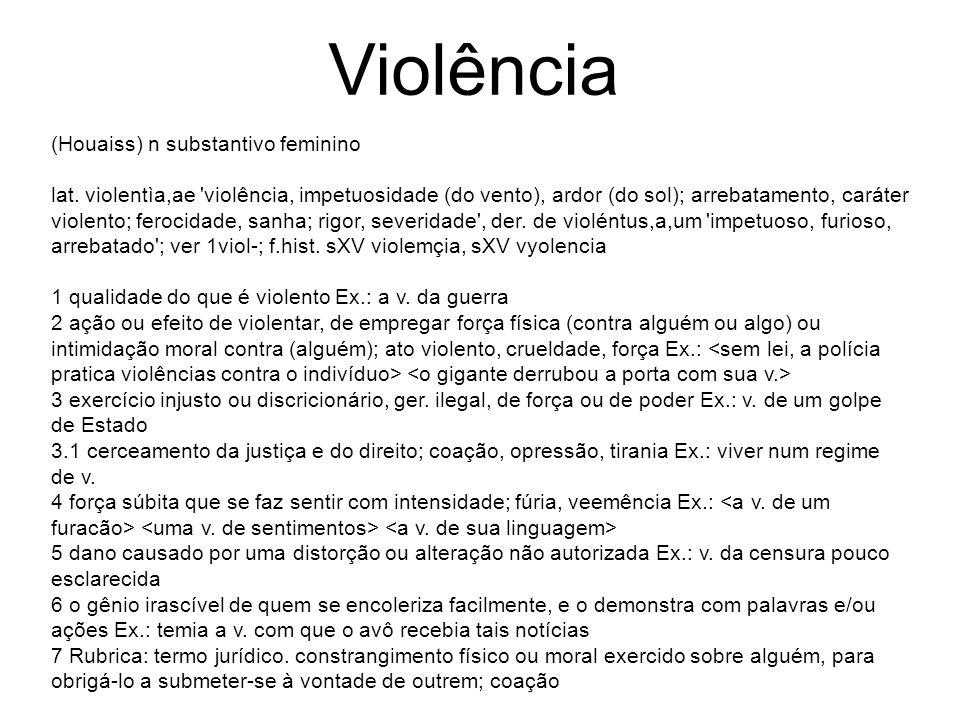 (Houaiss) n substantivo feminino lat. violentìa,ae 'violência, impetuosidade (do vento), ardor (do sol); arrebatamento, caráter violento; ferocidade,