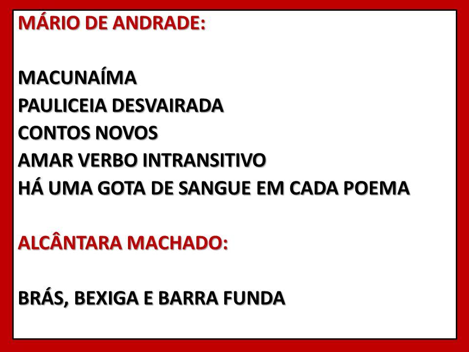 MÁRIO DE ANDRADE: MACUNAÍMA PAULICEIA DESVAIRADA CONTOS NOVOS AMAR VERBO INTRANSITIVO HÁ UMA GOTA DE SANGUE EM CADA POEMA ALCÂNTARA MACHADO: BRÁS, BEX