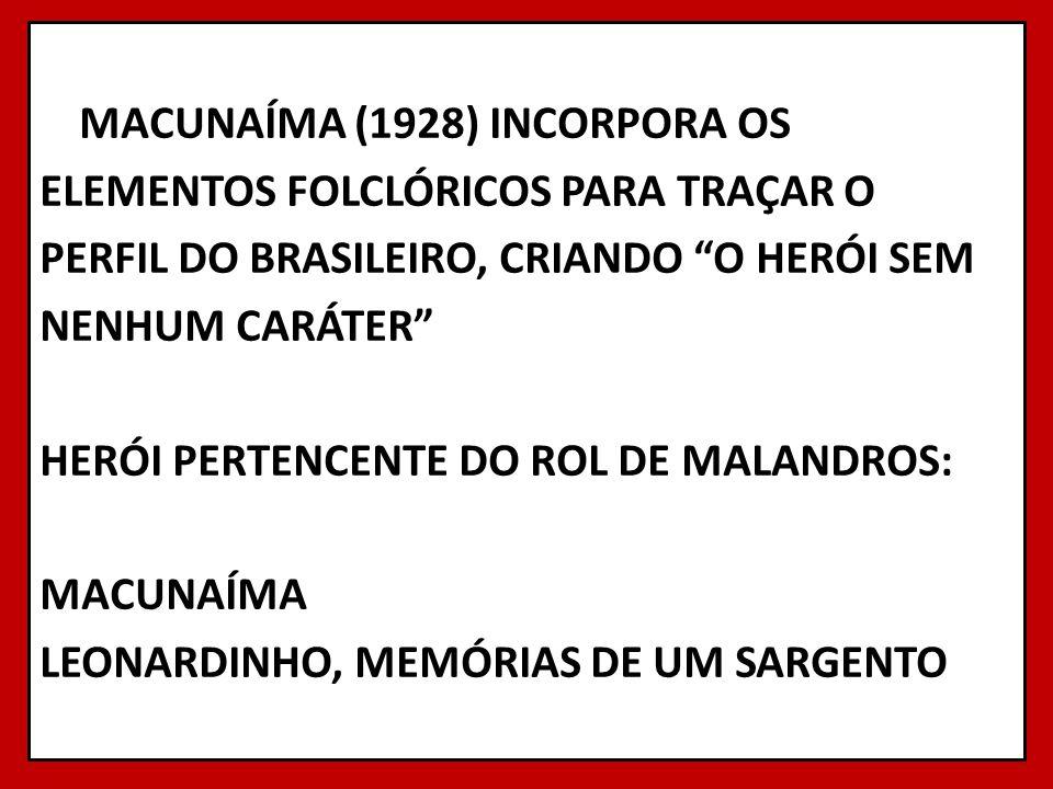 MACUNAÍMA (1928) INCORPORA OS ELEMENTOS FOLCLÓRICOS PARA TRAÇAR O PERFIL DO BRASILEIRO, CRIANDO O HERÓI SEM NENHUM CARÁTER HERÓI PERTENCENTE DO ROL DE
