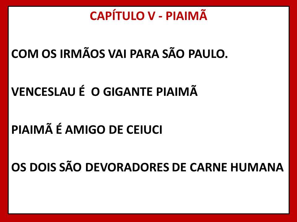 CAPÍTULO V - PIAIMÃ COM OS IRMÃOS VAI PARA SÃO PAULO. VENCESLAU É O GIGANTE PIAIMÃ PIAIMÃ É AMIGO DE CEIUCI OS DOIS SÃO DEVORADORES DE CARNE HUMANA