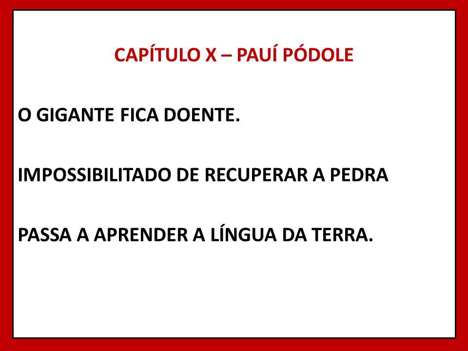 CAPÍTULO X – PAUÍ PÓDOLE O GIGANTE FICA DOENTE. IMPOSSIBILITADO DE RECUPERAR A PEDRA PASSA A APRENDER A LÍNGUA DA TERRA.