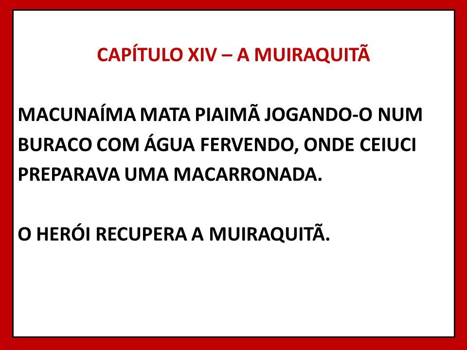 CAPÍTULO XIV – A MUIRAQUITÃ MACUNAÍMA MATA PIAIMÃ JOGANDO-O NUM BURACO COM ÁGUA FERVENDO, ONDE CEIUCI PREPARAVA UMA MACARRONADA. O HERÓI RECUPERA A MU