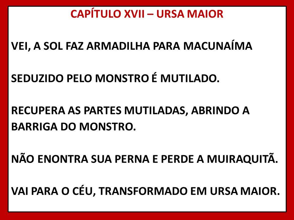 CAPÍTULO XVII – URSA MAIOR VEI, A SOL FAZ ARMADILHA PARA MACUNAÍMA SEDUZIDO PELO MONSTRO É MUTILADO. RECUPERA AS PARTES MUTILADAS, ABRINDO A BARRIGA D
