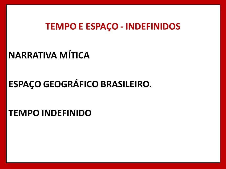 TEMPO E ESPAÇO - INDEFINIDOS NARRATIVA MÍTICA ESPAÇO GEOGRÁFICO BRASILEIRO. TEMPO INDEFINIDO