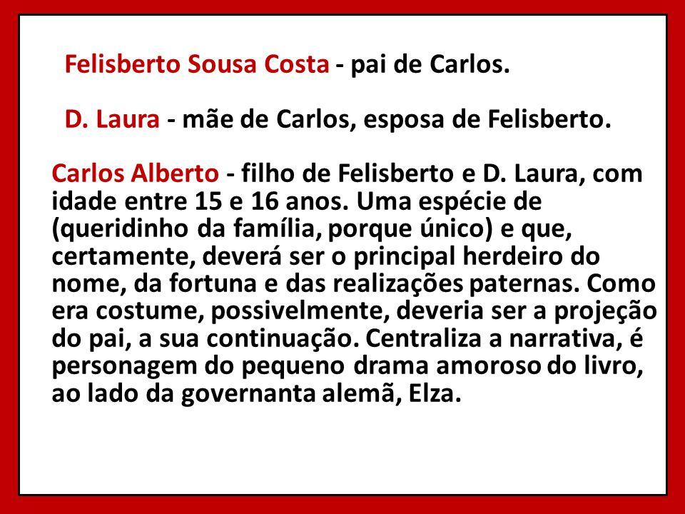 Felisberto Sousa Costa - pai de Carlos. D. Laura - mãe de Carlos, esposa de Felisberto. Carlos Alberto - filho de Felisberto e D. Laura, com idade ent