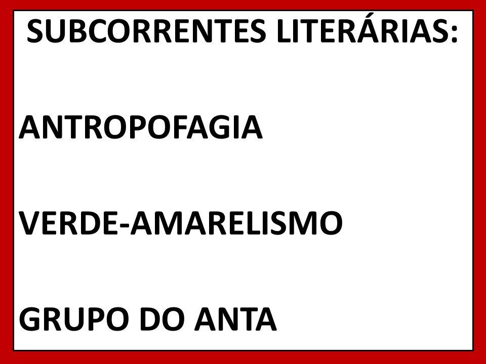 SUBCORRENTES LITERÁRIAS: ANTROPOFAGIA VERDE-AMARELISMO GRUPO DO ANTA