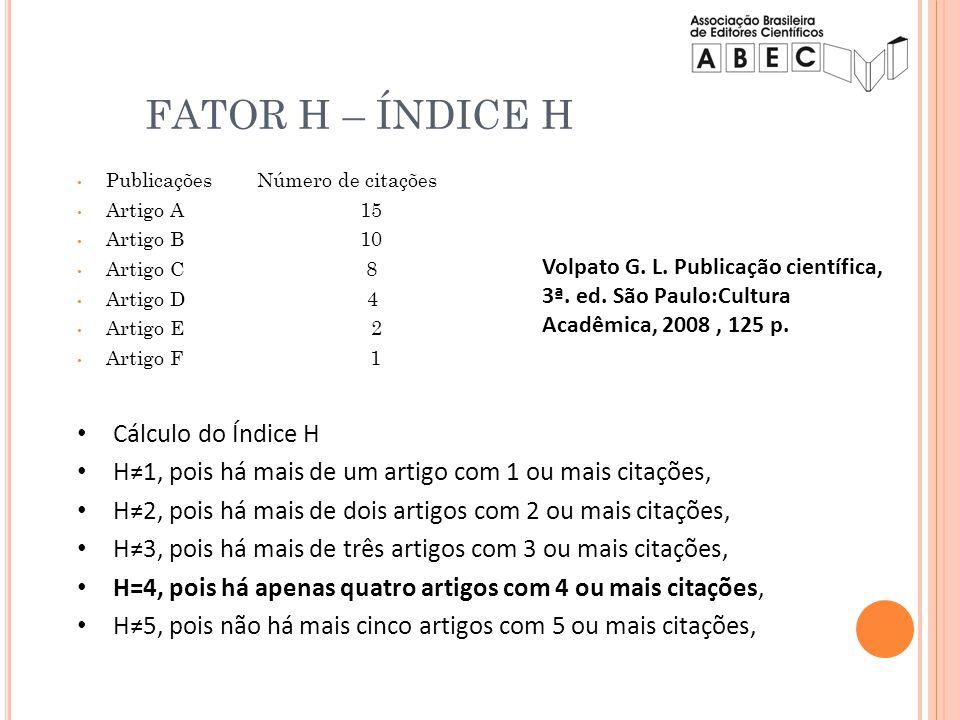 Publicações Número de citações Artigo A 15 Artigo B 10 Artigo C 8 Artigo D 4 Artigo E 2 Artigo F 1 Cálculo do Índice H H1, pois há mais de um artigo c