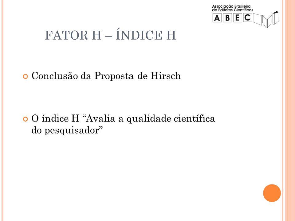 Conclusão da Proposta de Hirsch O índice H Avalia a qualidade científica do pesquisador FATOR H – ÍNDICE H