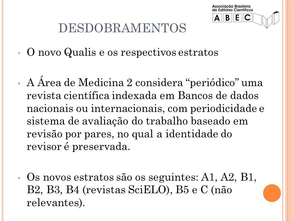 DESDOBRAMENTOS O novo Qualis e os respectivos estratos A Área de Medicina 2 considera periódico uma revista científica indexada em Bancos de dados nac