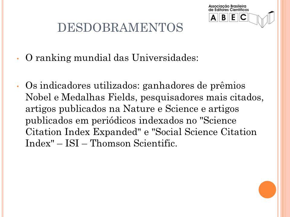 O ranking mundial das Universidades: Os indicadores utilizados: ganhadores de prêmios Nobel e Medalhas Fields, pesquisadores mais citados, artigos pub