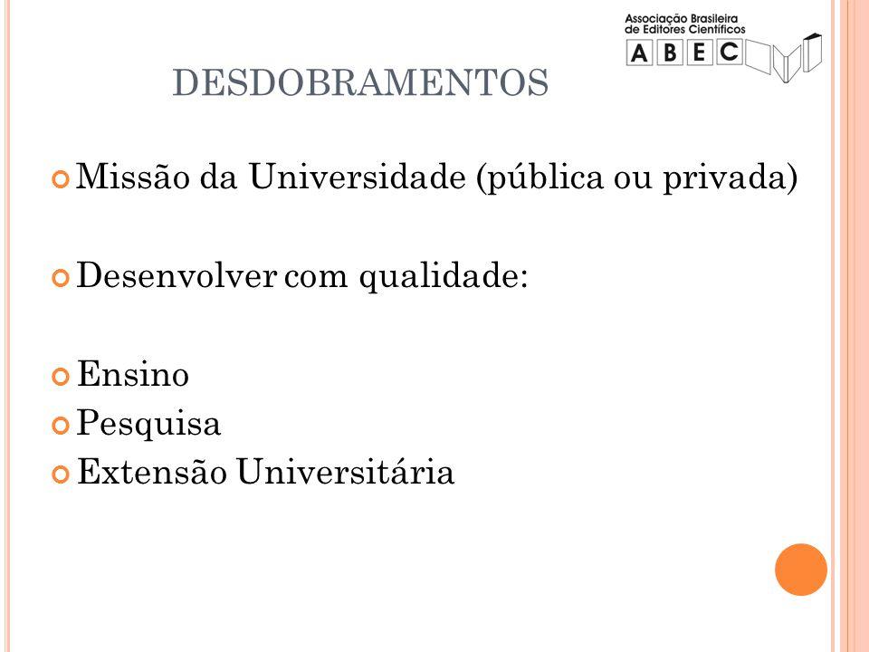 Missão da Universidade (pública ou privada) Desenvolver com qualidade: Ensino Pesquisa Extensão Universitária DESDOBRAMENTOS