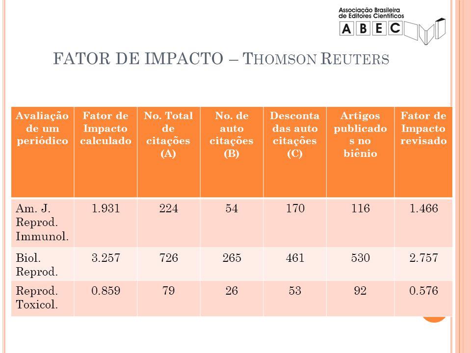 Avaliação de um periódico Fator de Impacto calculado No. Total de citações (A) No. de auto citações (B) Desconta das auto citações (C) Artigos publica
