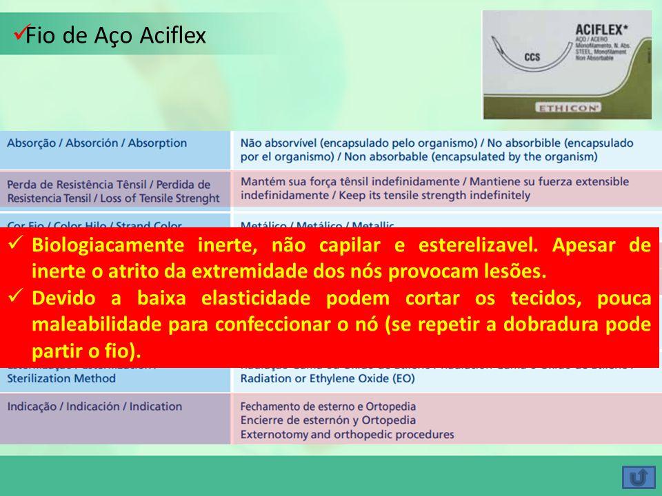 Fio de Aço Aciflex Biologiacamente inerte, não capilar e esterelizavel. Apesar de inerte o atrito da extremidade dos nós provocam lesões. Devido a bai