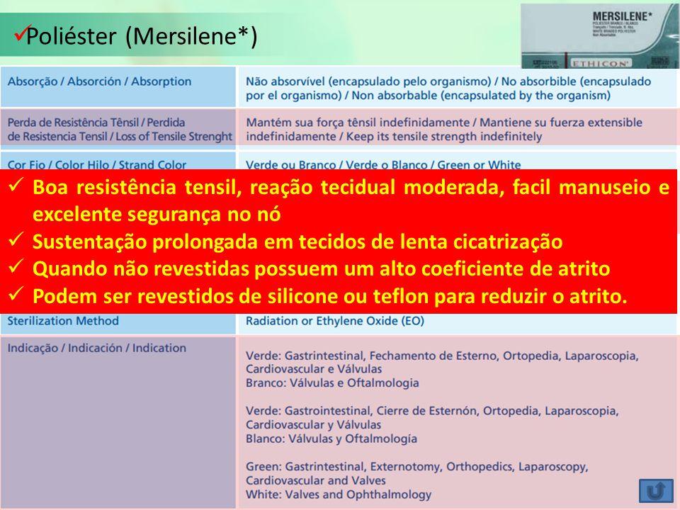 Poliéster (Mersilene*) Boa resistência tensil, reação tecidual moderada, facil manuseio e excelente segurança no nó Sustentação prolongada em tecidos