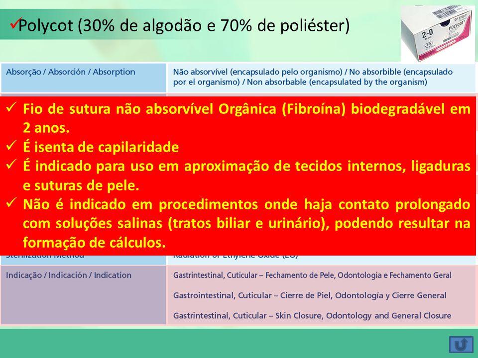 Polycot (30% de algodão e 70% de poliéster) Fio de sutura não absorvível Orgânica (Fibroína) biodegradável em 2 anos. É isenta de capilaridade É indic
