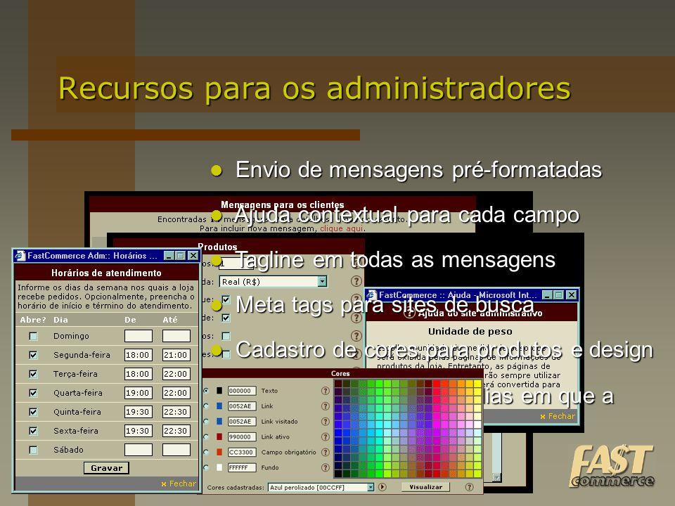 Envio de mensagens pré-formatadas Envio de mensagens pré-formatadas Recursos para os administradores Ajuda contextual para cada campo Ajuda contextual